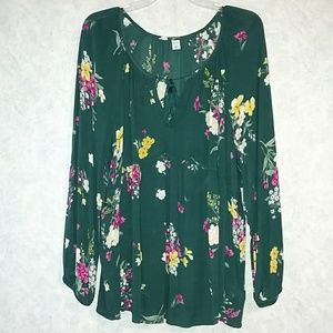 NWT Old Navy boho swing top XXL green floral